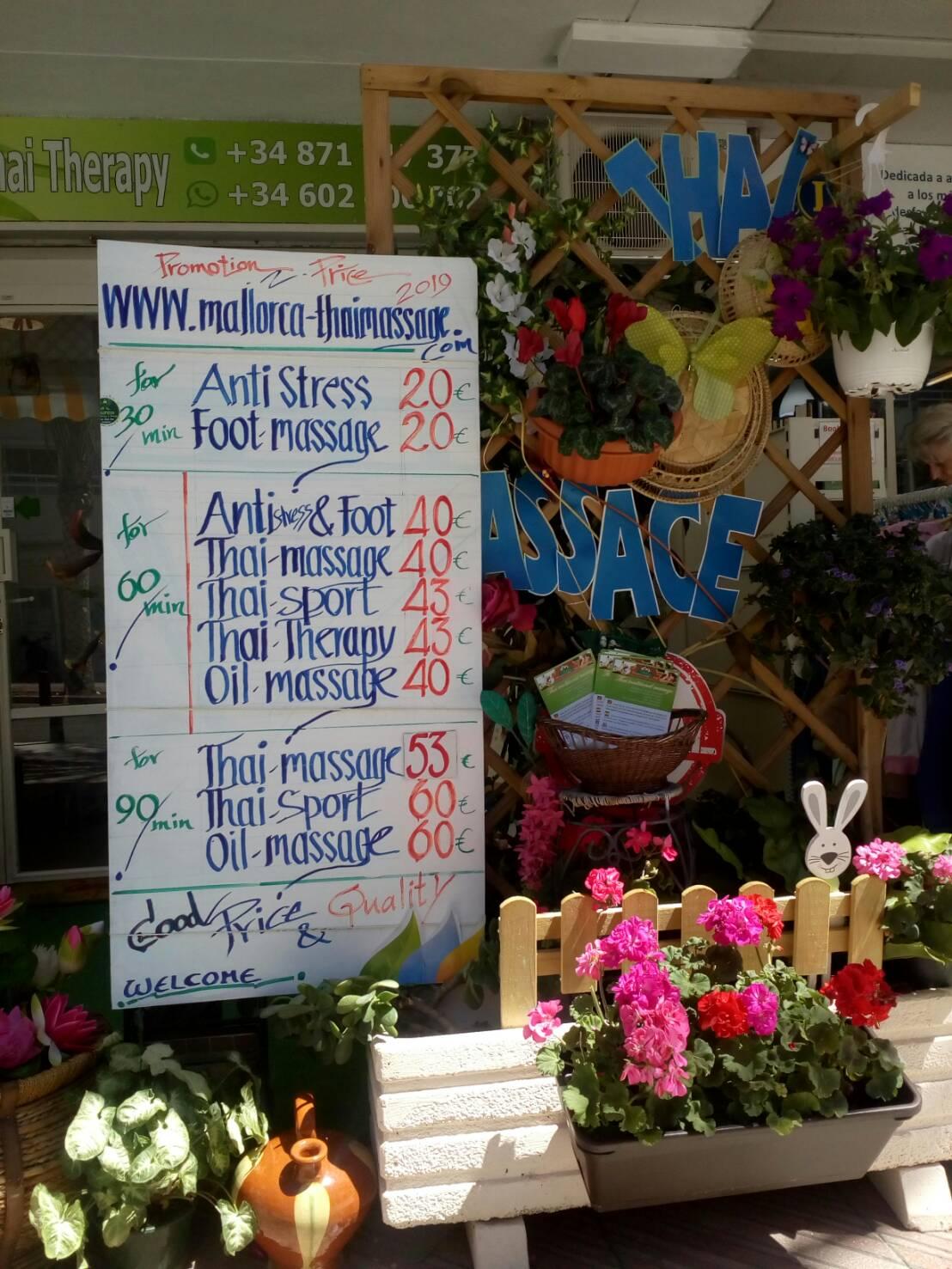 Prices - Thai Massage Palmanova & El Toro, Mallorca - Sasiton