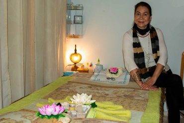 Sasiton in one of the beautiful massage rooms. Here she gives traditional Thai massage in Palmanova